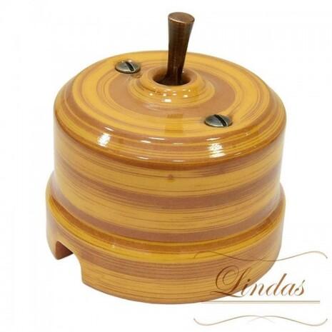 Выключатель 1-кл (проходной) тумблерный Lindas 34525-C, цвет бамбук/медь