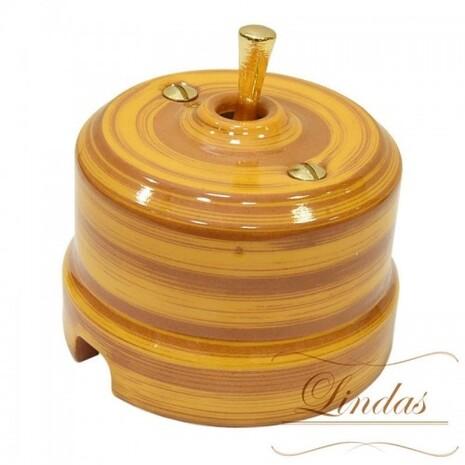 Выключатель 1-кл (проходной) тумблерный Lindas 34525-G, цвет бамбук/латунь