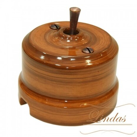Выключатель 1-кл (проходной) тумблерный Lindas 34526-C, цвет орех/медь