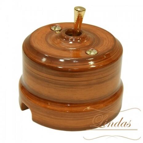 Выключатель 1-кл (проходной) тумблерный Lindas 34526-G, цвет орех/латунь