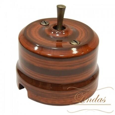 Выключатель 1-кл (проходной) тумблерный Lindas 34527-B, цвет палисандр/бронза