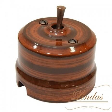 Выключатель 1-кл (проходной) тумблерный Lindas 34527-C, цвет палисандр/медь
