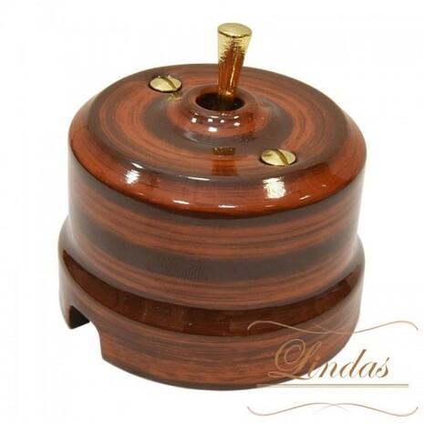 Выключатель 1-кл (проходной) тумблерный Lindas 34527-G, цвет палисандр/латунь