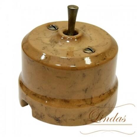Выключатель 1-кл (проходной) тумблерный Lindas 34530-B, цвет капучино/бронза