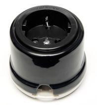 OP12BL Розетка с заземлением и шторками для наружного монтажа, черный
