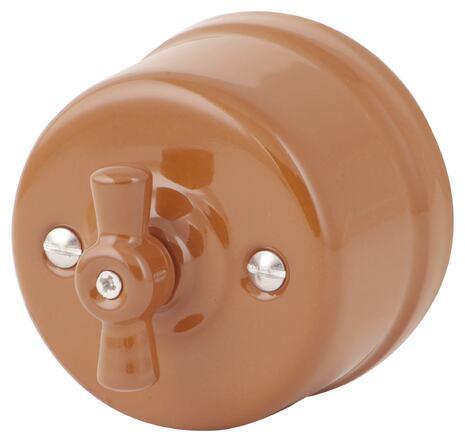 080-897 Выключатель Дорато проходной двухклавишный, керамический. 240V, 10A.