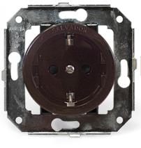 CL12BR Розетка с заземлением и шторками для внутреннего монтажа, коричневый