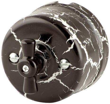 080-972 Выключатель Аструс проходной двухклавишный, керамический. 240V, 10A.