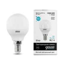 Лампа светодиодная Gauss шар матовый E14 10W 4100K 53120