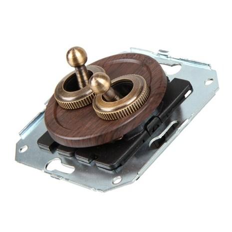 CL51WG Выключатель тумблерныйный 4-х позиционный для внутреннего монтажа проходной, венге