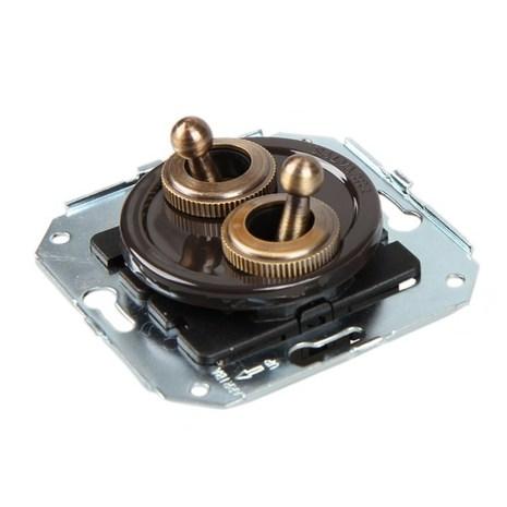 CL51BR Выключатель тумблерныйный 4-х позиционный для внутреннего монтажа проходной, коричневый