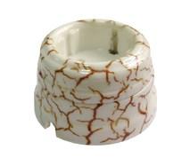 Розетка фарфоровая , двухполюсная, с заземляющим контактом ( D70x45),цвет - светлый мрамор, МезонинЪ GE70301-20
