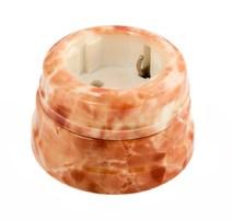 Розетка фарфоровая , двухполюсная, с заземляющим контактом ( D70x45),цвет - темный мрамор, МезонинЪ GE70301-21