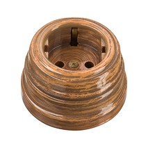 Розетка старинная фарфоровая двухполюсная, с заземляющим контактом (D70x45, 16А, 250В, IP 20), цвет - marrone, МезонинЪ, коллекция Art-Decor, GE70301-44