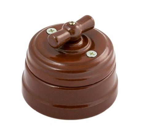Выключатель 1-кл (проходной) фарфоровый поворотный на два положения (D70x60), цвет - коричневый, МезонинЪ GE70404-04