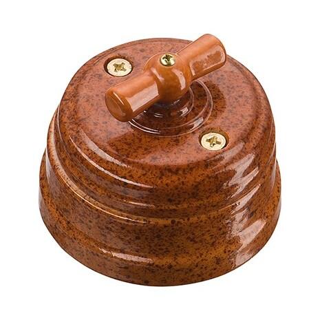 Выключатель 1-кл (проходной) старинный фарфоровый поворотный на 2 положения (D70x60, 10А, 250В, IP20), цвет - rosso, МезонинЪ, коллекция Art-Decor, GE70404-42