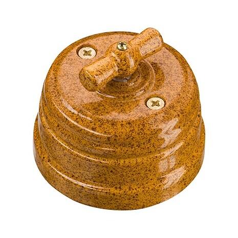 Выключатель 1-кл (проходной) ретро фарфоровый поворотный на 2 положения (D70x60, 10А, 250В, IP20), цвет - giallo, МезонинЪ, коллекция Art-Decor, GE70404-43