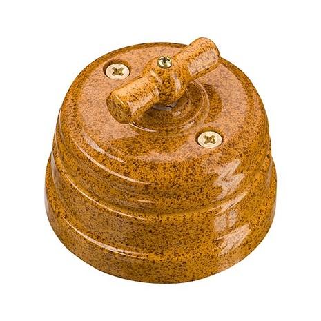 Выключатель 1-кл (проходной) винтажный фарфоровый поворотный на 4 положения (D70x60, 10А, 250В, IP20), цвет - giallo, МезонинЪ, коллекция Art-Decor, GE70401-43