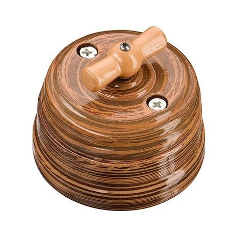 Выключатель 1-кл (проходной) старинный фарфоровый поворотный на 2 положения (D70x60, 10А, 250В, IP20), цвет - marrone, МезонинЪ, коллекция Art-Decor, GE70404-44