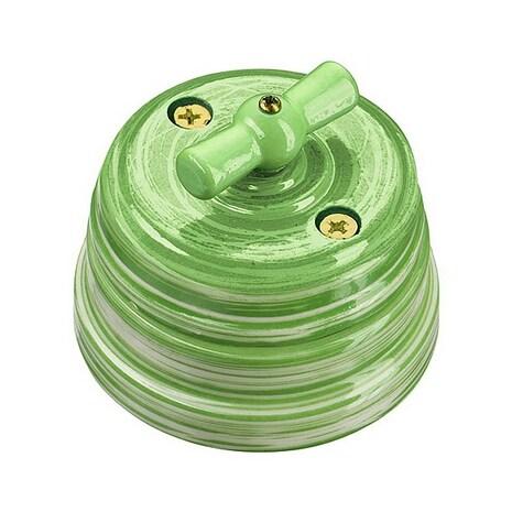 Выключатель 1-кл (проходной) винтажный фарфоровый поворотный на 2 положения (в комплекте с подъемной рамки, D70x60, 10А, 250В, IP20), цвет - verde, МезонинЪ, коллекция Art-Decor, GE70401-45