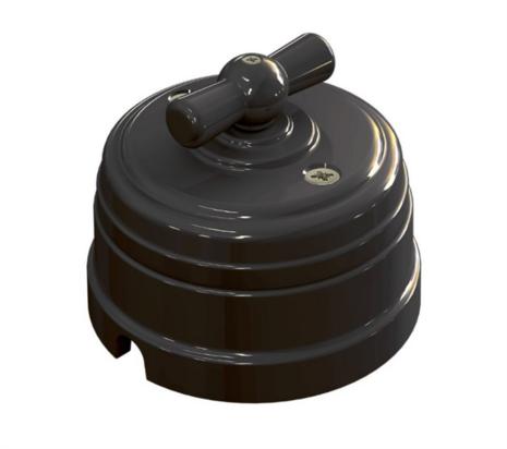 Выключатель фарфоровый поворотный на четыре положения (2-х клавишный, D70x60), цвет - черный, МезонинЪ GE70401-05