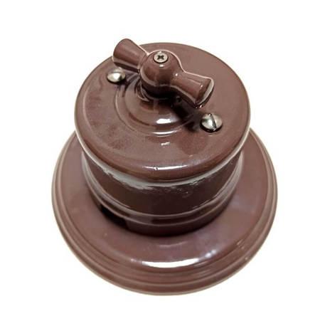 Выключатель 1-кл (проходной) B1-201-06 Bironi керамика, темный шоколад