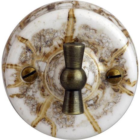 Выключатель 1-кл (проходной) винтажный ретро, мрамор В1-201-09 Bironi