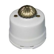 Винтажный выключатель с регулятором яркости для наружного монтажа (Диммер), белый-серебро, OPDMWT.SL