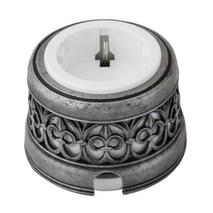 """OP12DNWT Розетка с заземлением и шторками для наружного монтажа c декоративной накладкой """"состаренное серебро"""", белый"""