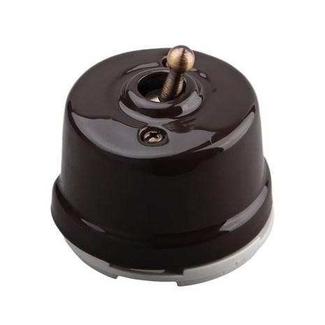 Выключатель 1-кл (проходной) OP41BR тумблерный 2-х позиционный для наружного монтажа, коричневый