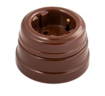 Розетка фарфоровая , двухполюсная, с заземляющим контактом ( D70x45),цвет - коричневый, МезонинЪ GE70301-04
