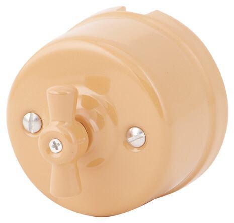 080-880 Выключатель Джиалло Реале проходной  двухклавишный, керамический. 240V, 10A.