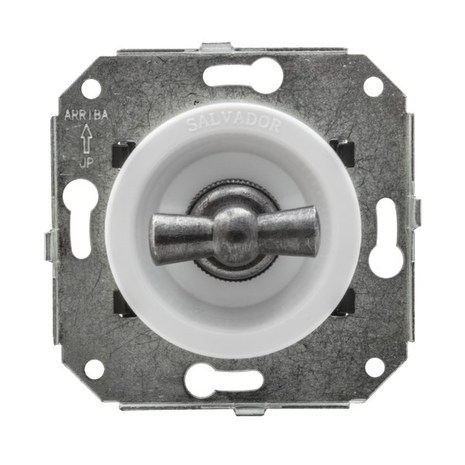 """Выключатель 1-кл (проходной) CL11WT.SL 2-х позиционный для внутреннего монтажа серии """"состаренное серебро, белый"""