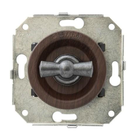 """Выключатель 1-кл (проходной) CL11CH.SL 2-х позиционный для внутреннего монтажа серии """"состаренное серебро, вишня"""