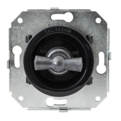 """Выключатель 1-кл (проходной) CL11BL.SL 2-х позиционный для внутреннего монтажа серии """"состаренное серебро, черный"""