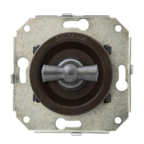 """CL21WG.SL Выключатель 4-х позиционный для внутреннего монтажа оконечный (Двухклавишный) серии """"состаренное серебро"""", венге"""