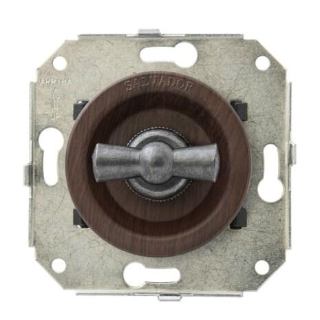 """CL21CH.SL Выключатель 4-х позиционный для внутреннего монтажа оконечный (Двухклавишный) серии """"состаренное серебро"""", вишня"""