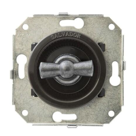"""CL21BR.SL Выключатель 4-х позиционный для внутреннего монтажа оконечный (Двухклавишный) серии """"состаренное серебро"""", коричневый"""