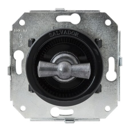 """CL21BL.SL Выключатель 4-х позиционный для внутреннего монтажа оконечный (Двухклавишный) серии """"состаренное серебро"""", черный"""