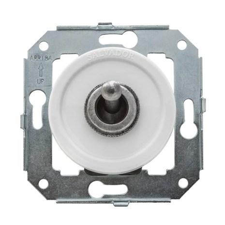 """Выключатель 1-кл (проходной) CL41WT.SL тумблерныйный 2-х позиционный для внутреннего монтажа серии """"состаренное серебро"""", белый"""