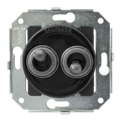 """CL51BL.SL Выключатель тумблерныйный 4-х позиционный для внутреннего монтажа проходной серии """"состаренное серебро"""", черный"""