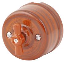080-934 Выключатель Руж Антик проходной на двухклавишный, керамический. 240V, 10A.