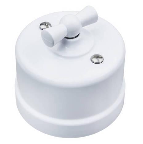 Старинный выключатель 2-х клавишный (4 положения) пластик, белый, B1-202-21 Bironi