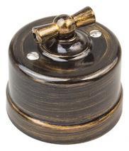 Старинный перекрестный выключатель пластик, бронза, B1-203-25 Bironi