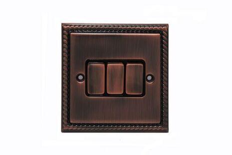Трёхклавишный проходной выключатель TJ Electric СМЕ2513-2-BZ