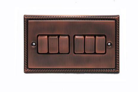 Шестиклавишный проходной выключатель TJ Electric СМЕ2516-2-BZ