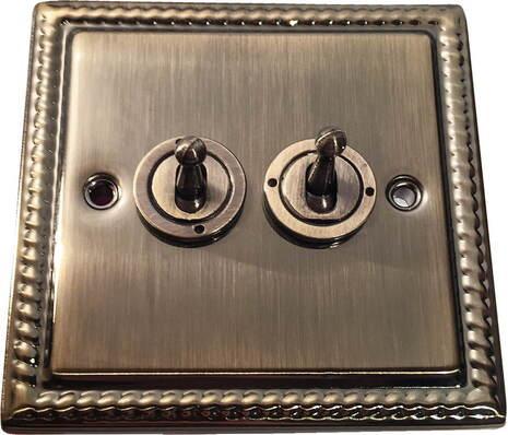 Двухклавишный тумблерный выключатель проходной Balfour Grand D1100AB