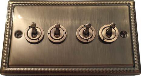 Четырёхклавишный тумблерный выключатель проходной Balfour Grand D1111AB