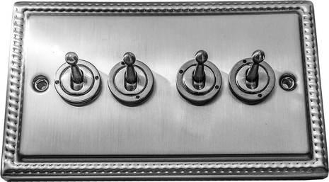 Четырёхклавишный тумблерный выключатель проходной Balfour Grand D1111BC