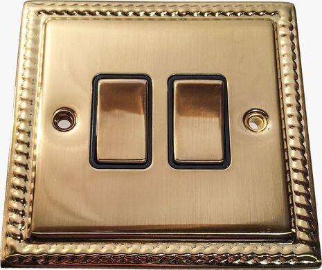Двухклавишный выключатель проходной Balfour Grand D3022BB